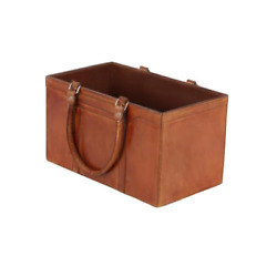 Magazine Rack Holder Brown Leather Rustic