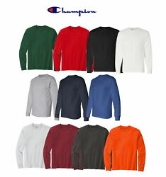 Champion Menand039s 100 Cotton Tagless Long Sleeve T-shirt Cc8c - Pick Size And Color