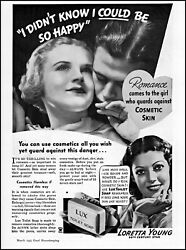 1935 Loretta Young Lux Toilet Soap Cosmetic Removal Vintage Photo Print Ad Ads60