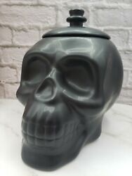 🎃 New Halloween Spooky Skull Cookie Jar Canister Matte Black Goth Gothic
