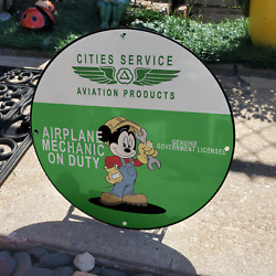Vintage Cities Service Aviation Products And039mickey Mouseand039 Porcelain Gas-oil Sign