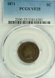 1871 Indian Cent Pcgs Vf25