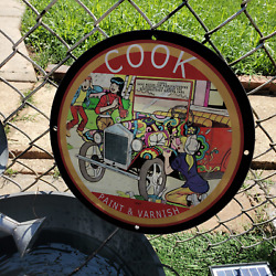 Vintage 1957 Cook Paint And Varnish ''betty And Veronica'' Porcelain Gas-oil Sign