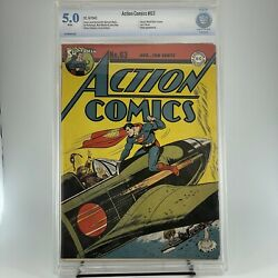 Action Comics 63 Cbcs 5.0 ❄️ White Pages - Hitler Appearance World War Two -cgc