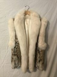 Natural Lynx Cat Vest With Shadow Fox Trim