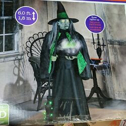 Life Size Witch Animated Talking Mists Lighted Led Calderon 6ft Halloween Prop
