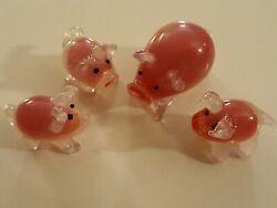 Lot of 4 Mini Glass PINK PIG family small Figurines mom amp; 3 piglets