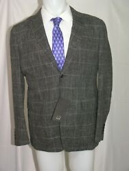 Dunhill Westminster Charcoal Window Pane Linen Blend Two Button Blazer 42r Nwt