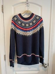 American Eagle Menand039s Blue Fair Isle Nordic Print Crew Neck Sweater Size Large