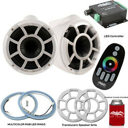 Wet Sounds Rev10w-x X-mount Tower Speakers With Rgb Led Speaker Rings Grills