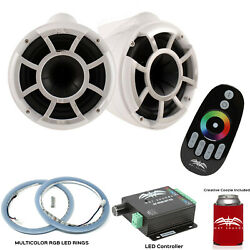 Wet Sounds Rev10w-x X-mount Tower Speakers With Rgb Led Speaker Rings