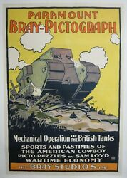 Vintage 1917 Paramount Bray-pictograph Animated Wwi Short 41x27 Poster Free Ship