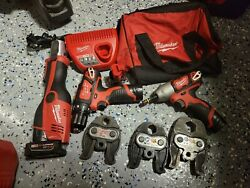 Milwaukee 2473-22 M12 Force Logic Press Tool Kit W/jaws And M12 Dril Set In Bag