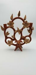 Vintage Mexican Folk Art Tree Of Life Candle Holder