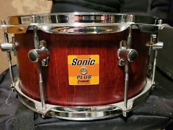 Sonor 90s Orig Run Sonic Plus Birch 6.5x14 Snare Drum Red Stain Germany