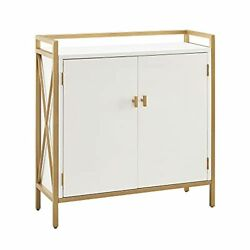 Leick Home 9200-wtgl Claudette Mixed Metal And Wood Foyer Hall Cabinet, White/sa