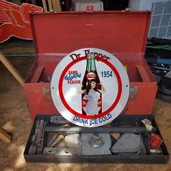 Vintage 1954 Dr. Pepper Ice Cold Carbonated Soft Drink Gas And Oil Pump Sign