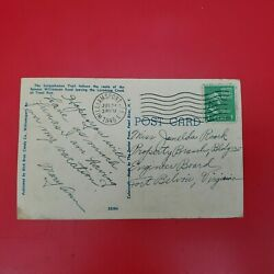 Antique Postcard With George Washington 1 Cent Stamp - Postmarked Jul. 24th 1945