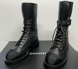 2021 Fall-winter Black Lace Up Lug Boots Sold Out Worldwide. Size 37 Us 7
