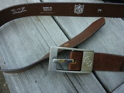 Pittsburgh Steelers Genuine Brown Leather Belt Size 34