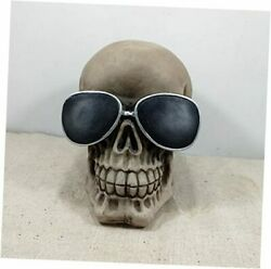 Realistic Life Size Human Skull Statue Model Decor With Cool Glasses For Modern