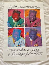 1989 New Orleans Jazz Festival Poster Fats Domino By R Thomas - Double Signed