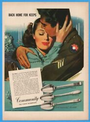 1945 Community Silverplate Milady Pattern Wwii Back Home For Keeps Army Ad