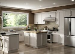 All Wood Rta 10x10 Luxor White Shaker Classic Kitchen Cabinets With Finger Grip