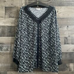 Belle By Kim Gravel Floral Top 2x Nwt Career Business Casual