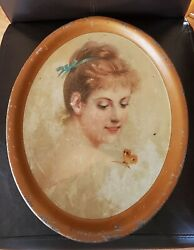 Rare Antique Beer Tray Victorian Girl Lady Butterfly Oblong Lithograph 16.5x13.5