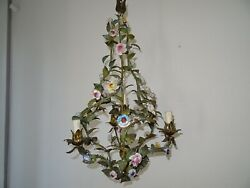 Italian Tole With Porcelain Flowers Polychrome Chandelier Circa 1870