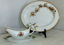 Fitz And Floyd St Nicholas Gravy Boat With Underliner And Oval Serving Platter