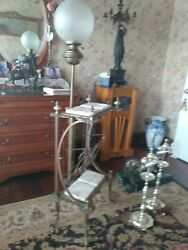 Scarce Antique Bronze/brass And Marble Music Stand Lamp Combo