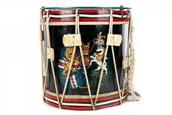 Rare Antique 1800's British English Military Drum With Clear Glass Table Top