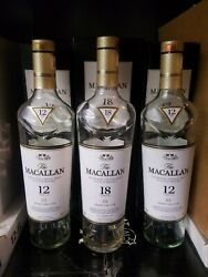 Empty Macallan Scotch Bottles And Boxes 18yr And 12yr - Lot Of 3