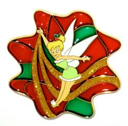 Tinker Bell Le Disney Pin ✿ Tink Christmas Holiday Stained Glass Glitter Ribbon