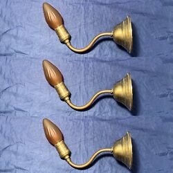 Rewired Antique Early Electric Wall Sconces Set Of 3 Three Brass 125a