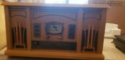 3-in-1 Cd / Record And Radio Music Player Honey Antique Style