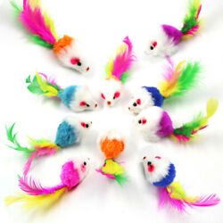 10 PCS Fur Mice Cat Toys Soft and Durable for Play Catnip Mice for kittens