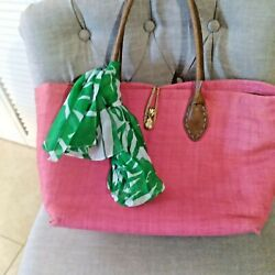 LILLY PULITZER Large Pink Beach Straw Tote Bag with Green amp; White Scarf $34.99
