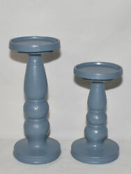Pillar Candle Holders 2pc Set Slate Blue Pedestal Candle Stands Hand Painted New