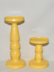 Pillar Candle Holders 2pc Set Canary Yellow Pedestal Candle Stands Hand Painted