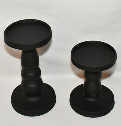 Pillar Candle Holders 2pc Set Matte Black Pedestal Candle Stands Hand Painted