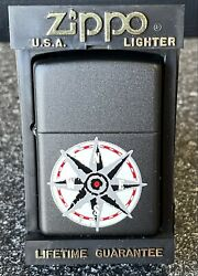 Vintage Unfired Brand New Compass Zippo With Black Matte Finish W/ Box