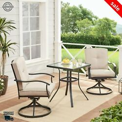 3 Pcs Bistro Patio Outdoor Furniture Table And Chairs Dining Garden Rattan Set