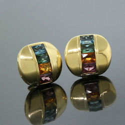 Vintage H.stern 18k Yellow Gold Multi-gemstone Rainbow Collection Earrings