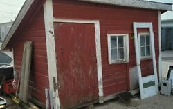 Old Chicken Coop Farm Building Wood Tin Roof Farmhouse Red Garden Pick Up Only