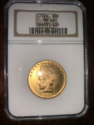 1926 10 Ms-63 Ngc Certified Indian Head/eagle Us Gold Coin, Free Shipping