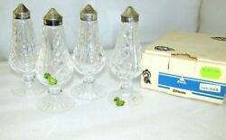 2 Pair Waterford Crystal Footed Salt And Pepper Shakers Vintage New Old Stock