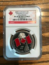 Canada 2005 Colored Silver Dollar Ngc Proof-70 Ultra Cameo Canada Flag